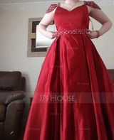 Ball-Gown/Princess V-neck Floor-Length Satin Evening Dress With Beading Sequins (017196078)