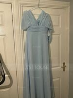 A-Line One-Shoulder Halter V-neck Floor-Length Chiffon Bridesmaid Dress With Ruffle (007221209)