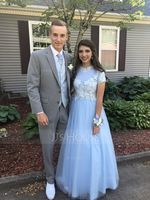 Scoop Neck Floor-Length Tulle Prom Dresses (272214594)