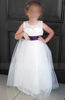 A-Line/Princess Ankle-length Flower Girl Dress - Tulle/Lace Sleeveless Scoop Neck With Sash/Bow(s) (010095105)