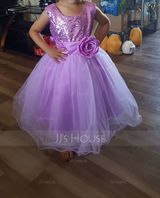 Empire Knee-length Flower Girl Dress - Tulle Sequined Cotton Blends Sleeveless Jewel With Flower(s) (269193554)