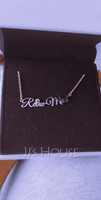 Custom 18k Rose Gold Plated Letter Name Necklace With Birthstone - Birthday Gifts (288250667)