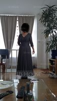 V-neck Ankle-Length Chiffon Lace Mother of the Bride Dress With Sequins Pleated (267204634)