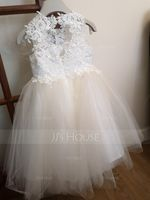 A-Line/Princess Knee-length Flower Girl Dress - Tulle/Lace Sleeveless Scoop Neck With Appliques (010132405)