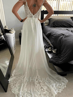 V-neck Sweep Train Chiffon Lace Wedding Dress With Beading Sequins (265256264)