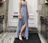 A-Line Sweetheart Floor-Length Chiffon Evening Dress With Ruffle Split Front (017124648)