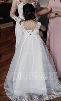 A-Line/Princess V-neck Floor-Length Tulle Junior Bridesmaid Dress With Sash (009136429)