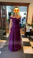 A-Line/Princess Off-the-Shoulder Floor-Length Tulle Evening Dress With Ruffle Feather Flower(s) (017153651)