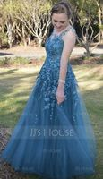 A-Line/Princess Scoop Neck Floor-Length Tulle Prom Dresses (018186891)