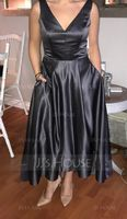 A-Line V-neck Asymmetrical Satin Prom Dresses With Pockets (018157165)