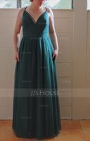 A-Line V-neck Floor-Length Tulle Bridesmaid Dress With Lace (266250511)
