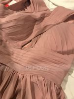 V-neck Sweep Train Chiffon Bridesmaid Dress With Ruffle (266217873)
