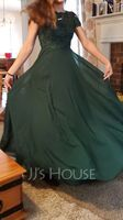 Scoop Neck Floor-Length Chiffon Lace Prom Dresses With Pockets (272235784)