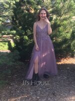A-Line V-neck Floor-Length Tulle Prom Dresses With Lace Beading Sequins Split Front (018220228)
