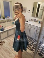 A-Line V-neck Knee-Length Satin Prom Dresses (018133420)