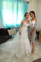 Sheath/Column Knee-Length Chiffon Lace Mother of the Bride Dress (267213678)