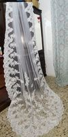 One-tier Lace Applique Edge Cathedral Bridal Veils With Applique (006096136)