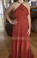 A-Line V-neck Floor-Length Chiffon Bridesmaid Dress With Split Front (266253360)