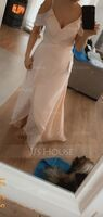 A-Line V-neck Asymmetrical Chiffon Bridesmaid Dress With Cascading Ruffles (266235292)