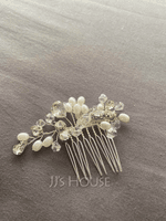 Ladies Elegant Crystal/Imitation Pearls/Copper/Glass Combs & Barrettes With Venetian Pearl/Crystal (Sold in single piece) (042236877)