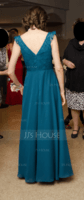 A-Line V-neck Floor-Length Chiffon Lace Bridesmaid Dress With Ruffle (266253094)