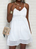 Lace Solid Shift Spaghetti Straps Sleeveless Midi Casual Little Black Vacation Type Dresses (294256156)