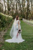Trumpet/Mermaid Cowl Neck Court Train Charmeuse Wedding Dress With Ruffle Lace Beading Sequins (002056232)