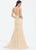 Trumpet/Mermaid Scoop Neck Sweep Train Tulle Prom Dresses With Sequins (018187210)