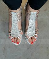 Women's PU Chunky Heel Sandals Pumps Peep Toe With Rhinestone Sequin Zipper shoes (087236309)