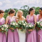 A-Line/Princess V-neck Floor-Length Chiffon Bridesmaid Dress With Bow(s) Split Front (266177067)