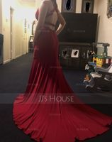 Trumpet/Mermaid V-neck Court Train Jersey Evening Dress With Beading Sequins (017147933)