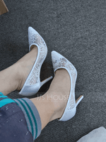Women's Lace Satin Stiletto Heel Closed Toe Pumps With Flower (047059944)