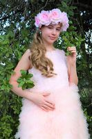 A-Line Knee-length Flower Girl Dress - Tulle/Lace Sleeveless Scoop Neck With V Back (010153229)
