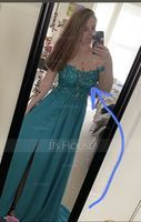 A-Line Off-the-Shoulder Sweep Train Chiffon Prom Dresses With Lace Sequins (018175911)
