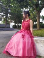 Ball-Gown Scoop Neck Floor-Length Tulle Prom Dresses With Beading Sequins (018105567)