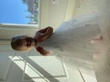 A-Line Tea-length Flower Girl Dress - Satin/Tulle Sleeveless Scoop Neck With Bow(s) (010094047)