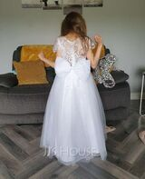 Floor-length Flower Girl Dress - Tulle Lace Short Sleeves Scoop Neck With Bow(s) (269246131)