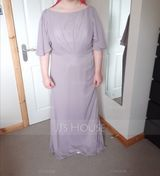 A-Line Scoop Neck Floor-Length Chiffon Bridesmaid Dress With Cascading Ruffles (007190675)
