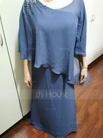 A-Line Scoop Neck Floor-Length Chiffon Mother of the Bride Dress With Beading (008225541)