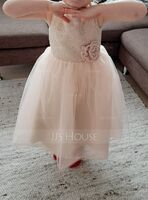 Tea-length Flower Girl Dress - Tulle Lace Sleeveless Scoop Neck With Flower(s) (269206898)