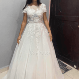 Ball-Gown/Princess Illusion Court Train Tulle Wedding Dress (002186393)