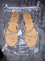 Women's Leatherette Flat Heel Sandals Flats Peep Toe Slingbacks With Imitation Pearl Chain shoes (087172941)