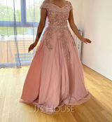 Ball-Gown/Princess Off-the-Shoulder Floor-Length Tulle Evening Dress With Beading (017235156)
