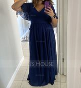 A-Line V-neck Floor-Length Chiffon Bridesmaid Dress With Ruffle (266254787)
