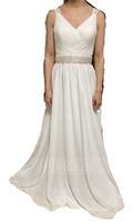 A-Line V-neck Sweep Train Chiffon Wedding Dress With Ruffle Lace Beading Sequins (002118433)