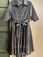 A-Line V-neck Asymmetrical Satin Mother of the Bride Dress With Bow(s) Pockets (008255228)