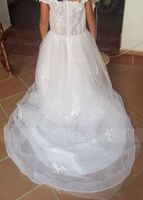 Ball-Gown/Princess Sweep Train Flower Girl Dress - Tulle/Lace Sleeveless Off-the-Shoulder With Flower(s) (010217276)