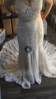 Trumpet/Mermaid V-neck Royal Train Lace Wedding Dress With Ruffle Bow(s) (002108303)