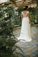 A-Line V-neck Court Train Chiffon Wedding Dress With Beading Sequins (002118435)