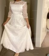 A-Line Scoop Neck Floor-Length Satin Wedding Dress With Lace (002215646)